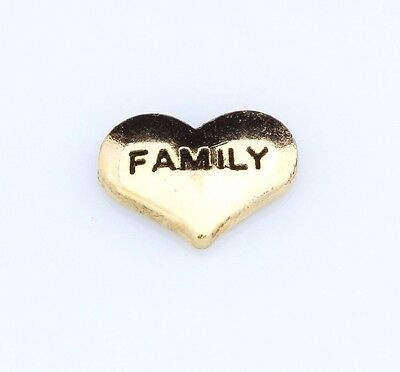 Floating Charm for Floating Locket Yellow Gold Heart FAMILY BNIP