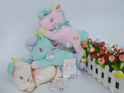 "10""Sanrio Little Twin Stars Pink/white/Light green Unicorn Bag plush toy New"