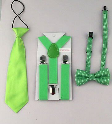 3PCS Suspenders Bowtie Bow Ties Matching Braces Boy Child/Children Kid YHHtr0007