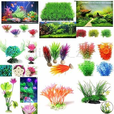Artificielle Herbe Plante Plastique Aquatique Aquarium Décor Poisson Fish Tank