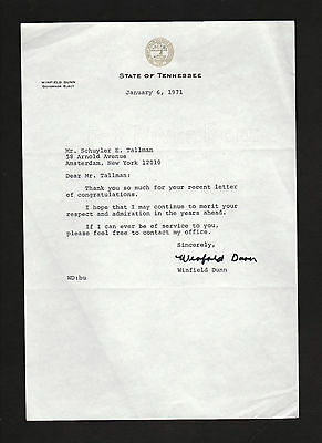 Governor Winfield Dunn 1971 letter by Tennessee Republican * navy WWII * signed?