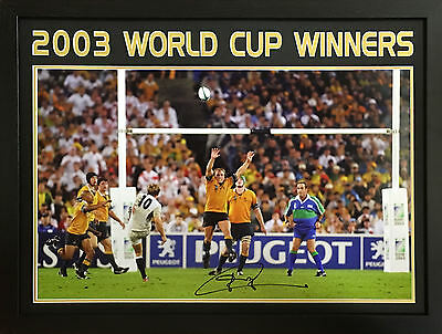 JONNY WILKINSON FRAMED SIGNED ENGLAND 2003 RUGBY WORLD CUP 30x20 PHOTO COA PROOF