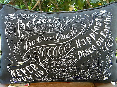 Disney Parks Chalkboard Pillow Once Upon A Time Be Our Guest Believe Magic NEW
