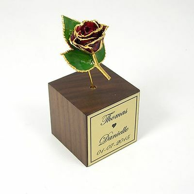24k Gold Dipped Burgundy Rose Personalized Stand (Free Anniversary Gift Box)