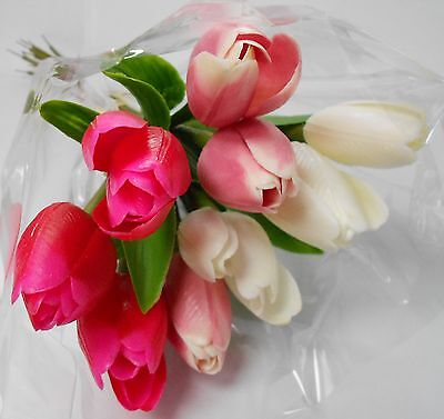 Artificial  Plastic Weather Resistant Tulip Bunch 9 Stems Pink And Ivory