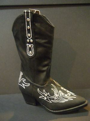 Cowgirl Boots ROPER Girl's Black Rhinestone with Fancy Stitching 09018-1556-0416