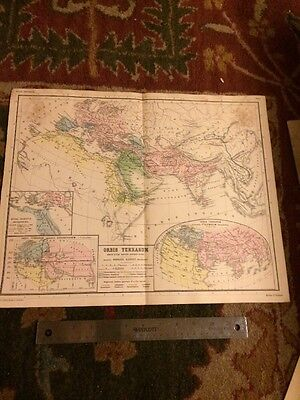 Vintage Antique Atlas Ancient World Kiepert 1892 World Map Orbis Terrarum