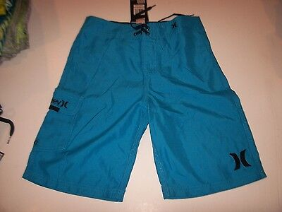 Hurley swimsuit boys youth board shorts swim trunks turquoise blue 4  6 7 10 14