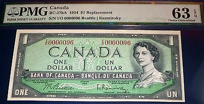 PMG 63 CHOICE UNCIRCULATED -Bank of Canada 1954  $1, LOw serial # 96