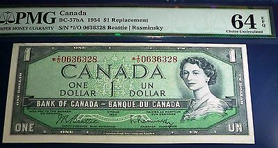 PMG 63 CHOICE UNCIRCULATED -Bank of Canada 1954  $1, *I/O REPLACEMENT Banknote