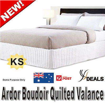 Ardor Boudoir KING Single Bed Quilted Valance - White