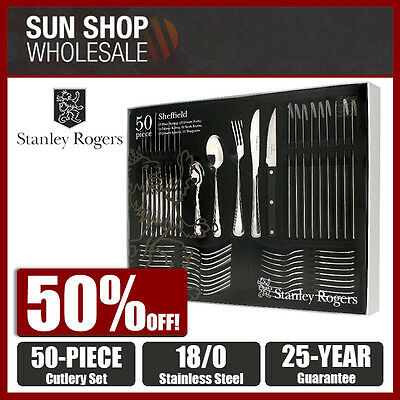 100% Genuine! STANLEY ROGERS Sheffield 50 Piece Cutlery Set! RRP $199.00!