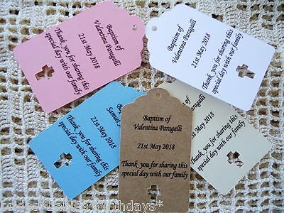 10 Kraft Gift Tags Christening Baptism Favour Bomboniere Personalised g7