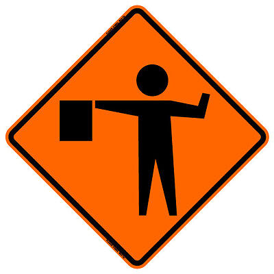 """BONE SAFETY FLAGGER AHEAD SYMBOL (48"""") Roll-Up Sign with Ribs..FLUORESCENT VINYL"""