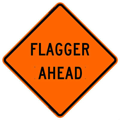 """BONE SAFETY FLAGGER AHEAD (48"""") Roll-Up Sign with Ribs..FLUORESCENT VINYL"""