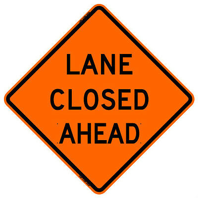 """BONE SAFETY LANE CLOSED AHEAD (48"""") Roll-Up Sign with Ribs..FLUORESCENT VINYL"""