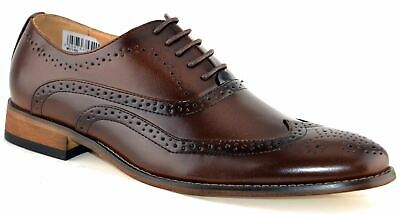 Mens Leather Lined Smart Wedding Lace Up Brogues Formal Dress Shoes Size 6-12