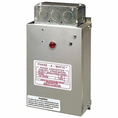 Phase-a-Matic Static Phase Converter #PC-600, 3-5HP, 15.2 Max Amps