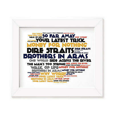 `Cadence` DIRE STRAITS Art Print Typography Album Song Lyrics Signed Wall Poster
