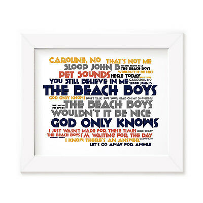 `Cadence` THE BEACH BOYS Art Print Typography Album Song Lyrics Signed Poster
