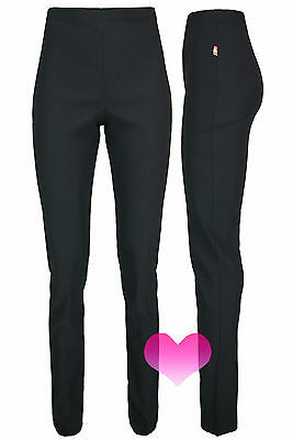 Womens Girls Black High Waisted Trousers Quality School Work Stretch Pants 6-18.