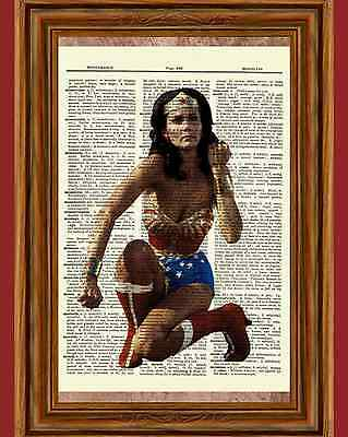 Wonder Woman Lynda Carter Dictionary Art Poster Picture Comic Vintage Book Movie