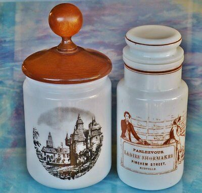 Retro/Vintage  *2 MILK GLASS STORAGE JARS*  ITALY & BELGIUM - 1 has wooden lid
