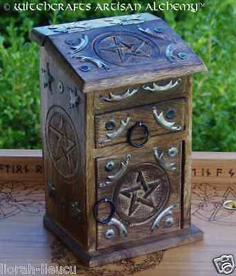 Pentagram Pentacle Witch's Herb Cupboard Wood Chest, Wicca Pagan Witchcraft