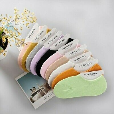 10 Pairs Womens Cotton Invisible Solid No Show Nonslip Loafer Boat Low Cut Socks