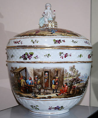 Grand Meissen Style German Painted Porcelain Covered Bowl Circa 1900