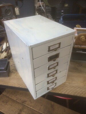 Vintage Industrial 6 Drawer Filing Cabinet Storage Painted