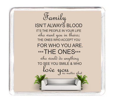Fridge Magnet Family Blood Relative Life Accept Smile Love Quotes Saying Present