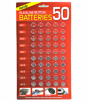 New 50 Assorted Button Cell Watch Battery Batteries Ag 1 / 3 / 4 / 10 / 12 / 13