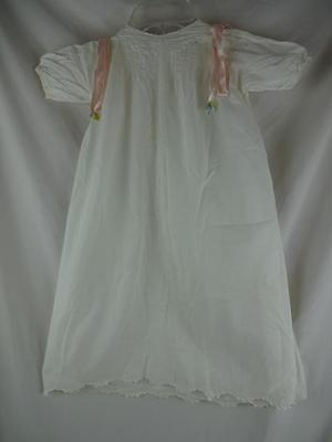 Vintage Fine Cotton Baby Christening Gown - Made in France- Pink Ribbons
