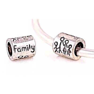 FAMILY CHILDREN Charm Bead For European Bracelets Silver Plated 1pc