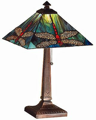 Arts and Crafts Scarlet Dragonflies with Ruby Eyes Stained Glass Lamp - Sale