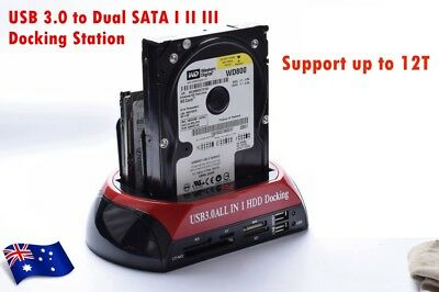 """New USB 3.0 to 2.5"""" & 3.5"""" IDE SATA HDD Dual Bay Docking Station 6TB All in One"""