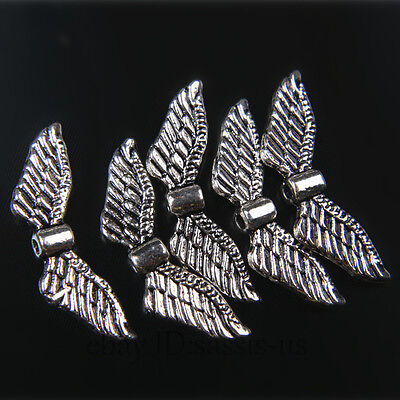 50pcs 24mm Charms Angel Wing Spacer Beads Tibet Silver DIY Jewelry Pendant A7405