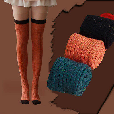 New Girls Womens Over Knee High Socks Rabbit Wool Knit Thigh High Long Socks