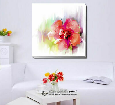 Flowers Watercolour Stretched Canvas Print Framed Wall Art Home Decor Painting