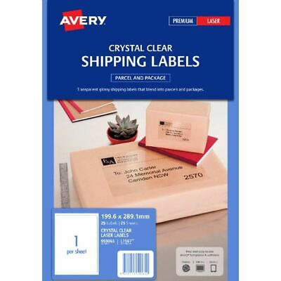 Avery L7567 Laser Address Labels Clear 1 Per Page 25 Pack - 959065