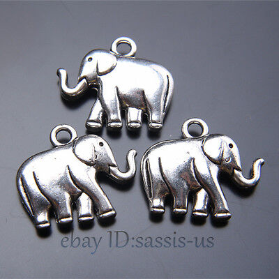 15pcs 21mm 3D Charms Peace Elephant Pendant Tibet Silver DIY Jewelry Charm A7418