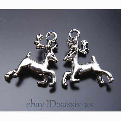 30pcs 21mm Charms 3D Sika Deer Pendant Tibet Silver DIY Jewelry Making A7424