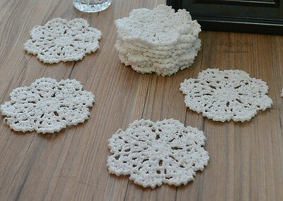 "Dozen White Round Hand Crochet Small Snowflake Doilies 4"" Cotton Appliques Lot"