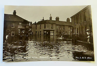Wonderful Early Real Photo Postcard Norwich Flood Disaster Mancroft Street 1912