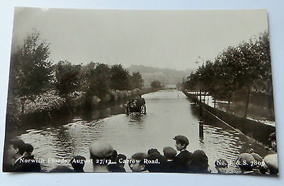 Wonderful Early Real Photo Postcard Norwich Flood Disaster Carrow Road 1912