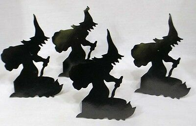 Vintage Halloween Set Four Standup Witch Silhouettes 1950s
