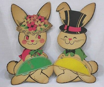 Vintage Pair Beistle Stand Up Easter Bunnies with Honeycomb Eggs NICE!