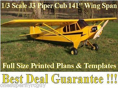 """Piper J3 Cub 1/3 Scale 141"""" WS Giant RC Airplane PRINTED Plans & Templates"""