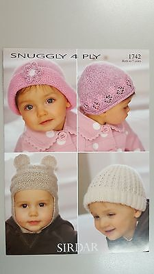 Sirdar Knitting Pattern #1742 Baby Hats to Knit in Snuggly 4 Ply Yarn